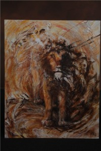 Aslan painting by Sally Brestin